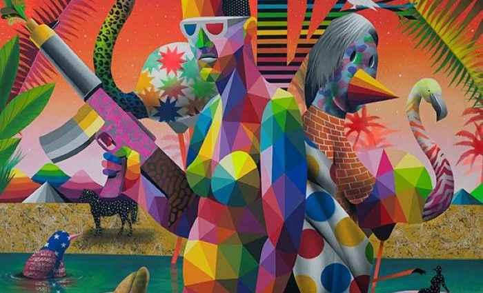 Разноцветные геометрические и узорные фигуры. Okuda San Miguel 1