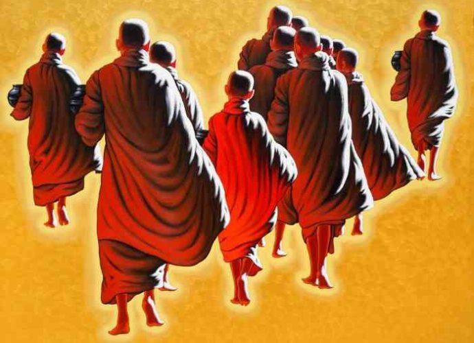 Монахи и монахини в оранжево-коричневых одеждах. Min Wae Aung 3