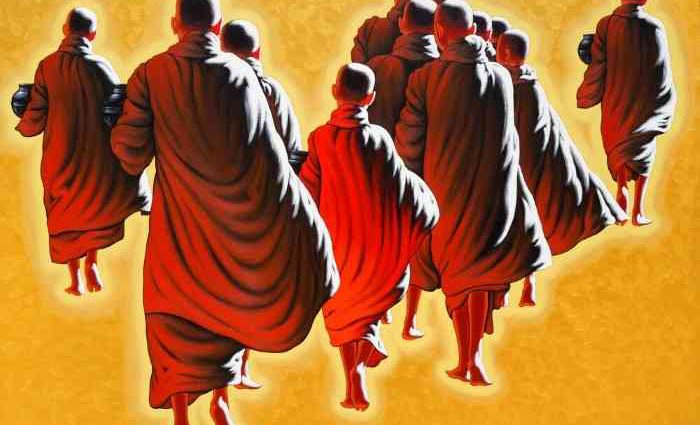 Монахи и монахини в оранжево-коричневых одеждах. Min Wae Aung 1