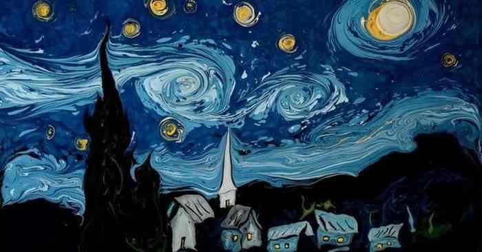 Как нарисовать картину Ван Гога на поверхности воды 1