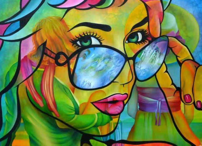 Её фигуративный стиль, перемежающийся с поп-артом и сюрреализмом, наполнен поэзией и юмором