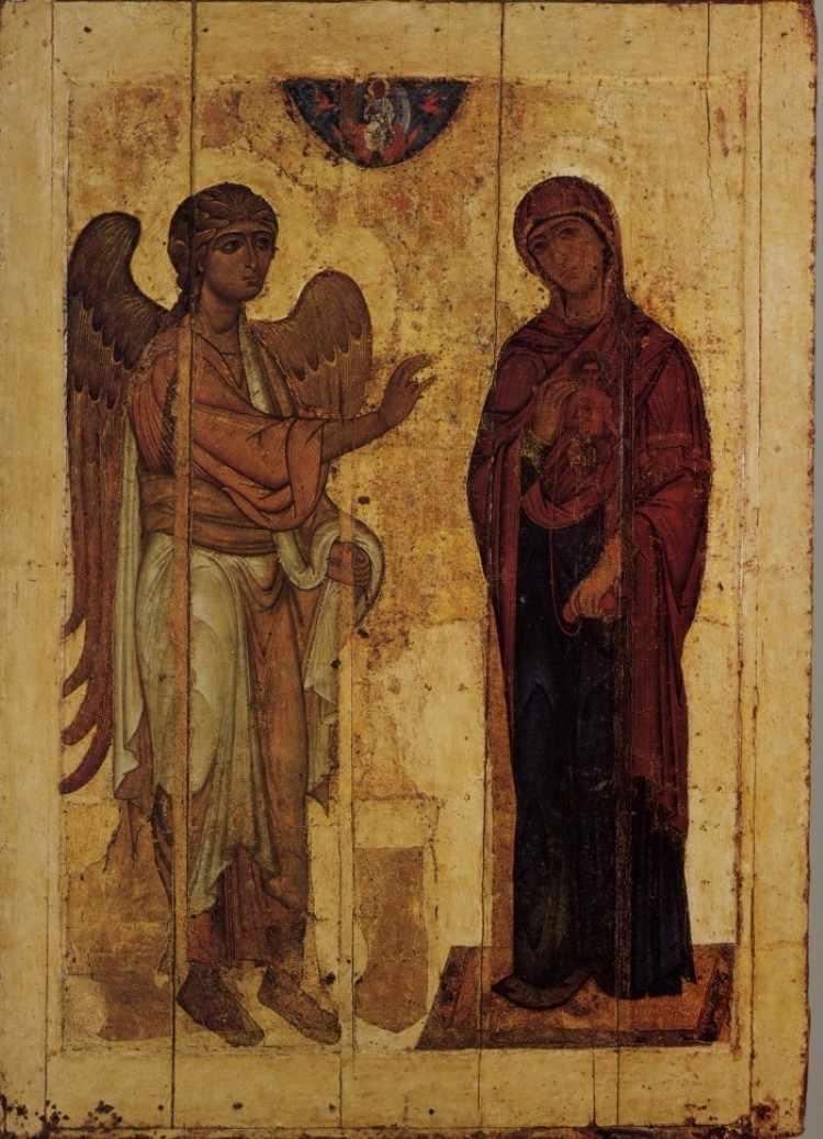 Икона Благовещения Пресвятой Богородицы. 12 век